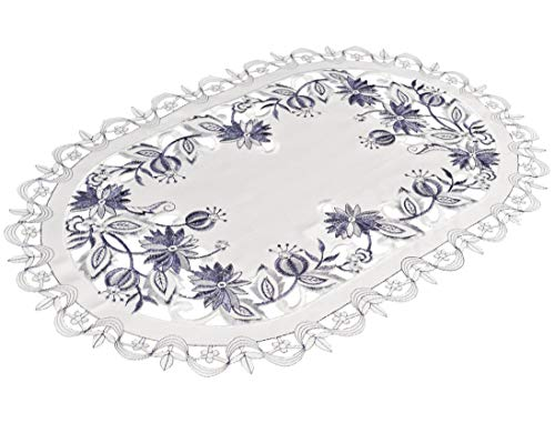 Embroidered Delft Blue Onion Flower Place Mat Dresser Scarf Doily 12 Inches x 18 Inches
