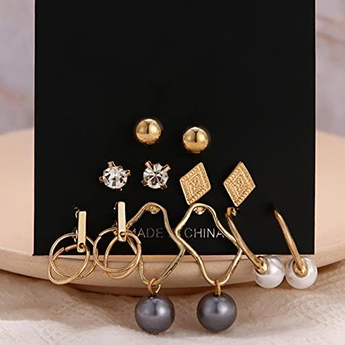 FEARRIN Pendientes Vintage Bohemain para Mujer Pendientes de Perlas para Mujer Joyería Bohemia Pendientes geométricos de Cristal con Forma de corazón H81-ZL0429
