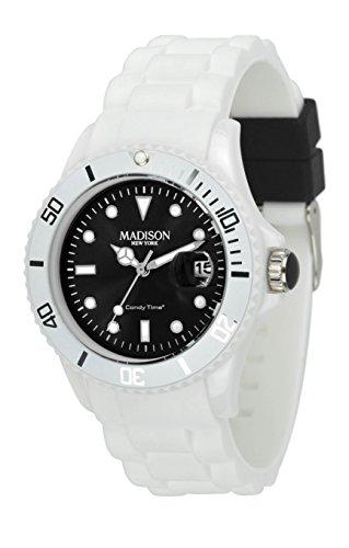 Madison New York Unisex polshorloge Candy Time White Fashion analoog kwarts siliconen U4359A1