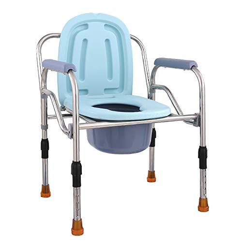 ZYFA Silla WC, Altura Ajustable Silla de habitación con Inodoro,Plegable Baño Silla,Inodoro...
