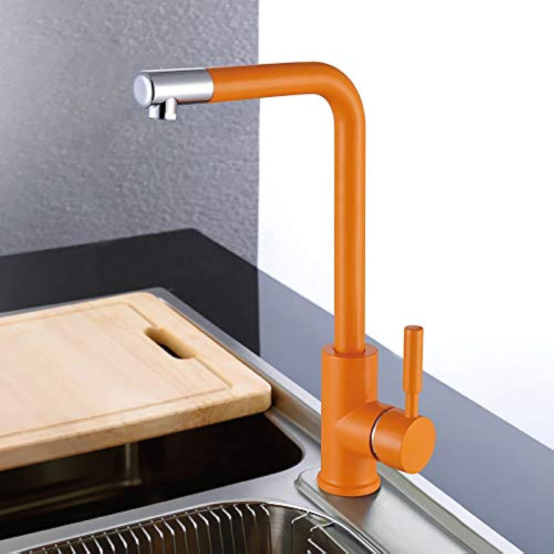 Orange antike 360 des Messingspülbeckenhahns drehender heier und kalter Wasserhahn des kochenden Wasserhahns kreativer Chromhahn