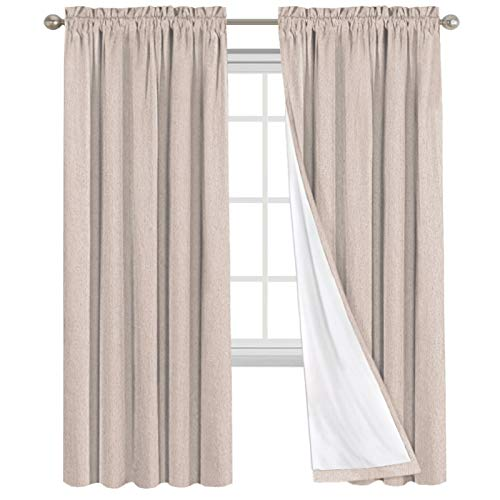 100% Blackout Curtains for Bedroom Rod Pocket Drapes Window Treatment Curtain Thermal Insulated Curtains for Living Room Darkening Window Drapes (52 x 95 Inch, Natural)