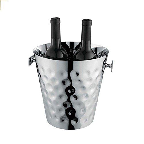 FTC Ice Bucket Secchiello per Ghiaccio in Acciaio Inox con Punta a Martello in Oro Rosa Oro Secchiello per Il Ghiaccio in Oro Rosa 23x23x23cm, Argento
