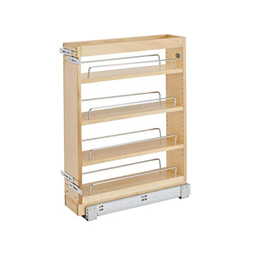 Rev-A-Shelf 448-BC19-5C 5 Inch x 19 Inch Pull Out Wood Base Kitchen Cabinet Organizer with 3 Adjustable Shelves, Natural Maple Wood