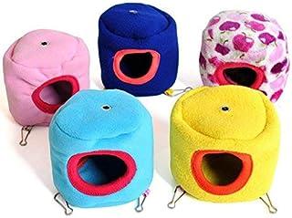 ハムスター ベッド 小動物用 ハムスター ハウス 暖かい マット付き 保温 防寒 ハムスター、オウム、ウサギなどの小型ペットに対応 (ランダムなカラー)