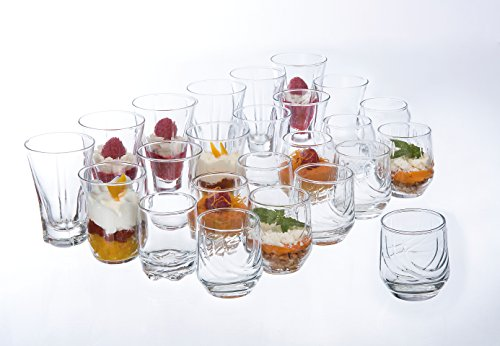 Réception 1618043 Lot de 24 Verrines pour Amuse Bouche, Verre, Transparent, 25 x 19 x 16,5 cm