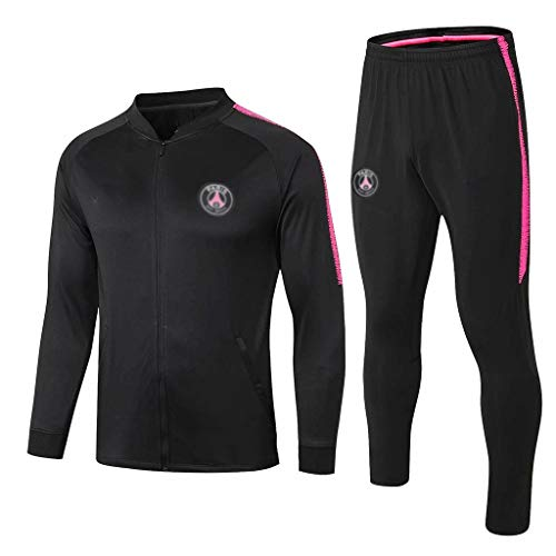 YWYU 60. Jahrestag!France Football Club Fußball-Trainingsanzug Herren Schwarz Breath Langarm-Kapuzenshirt Top + Pants Fan Special Edition-SPM-B1080 (Color : Black, Size : M)