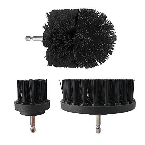 HUANGRONG Cepillo eléctrico Cepillo Brocha Kit de Cepillo de plástico de Limpieza Redonda Herramienta de Cepillo para neumáticos de Vidrio de alfombras Cepillos de Nylon Fregadora