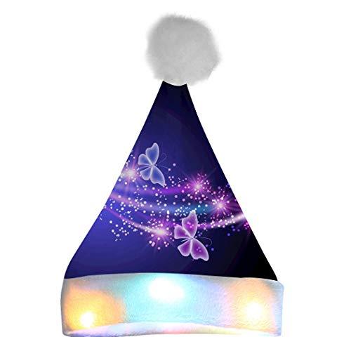 Kerstman Hoed gloeiende kerstmuts met LED kleur lichten voor volwassenen Kids Party