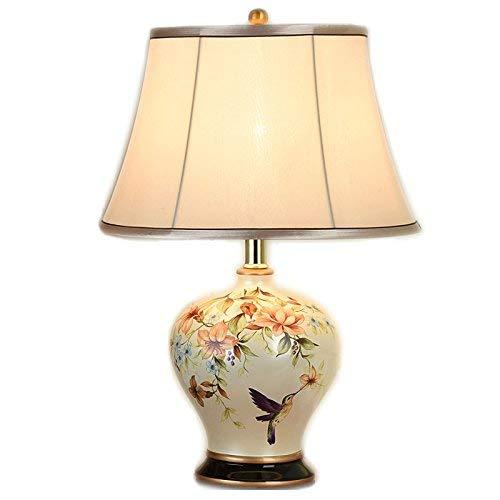 JM Schreibtischlampen Moderne Chinesische Keramik Tischlampe Licht Körper Tuch Lampenschirm E27 Taste Schalter Tischlampe Schlafzimmer Dekoriert