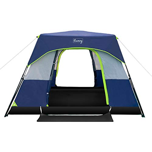 6-Person Instant Tent 60 Seconds Setup Camping Cabin Tent,Waterproof Windproof Family Tent with Top Rainfly,Double...