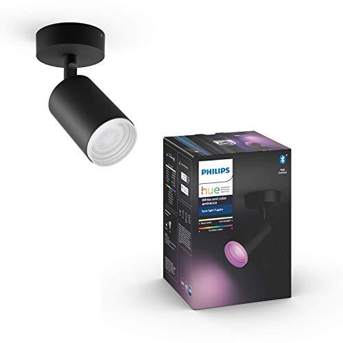 Philips Hue White & Col. Amb. Bluetooth 1-er Spotleuchte Fugato, LED GU10, schwarz, dimmbar, 16 Mio. Farben, steuerbar via App, kompatibel mit Amazon Alexa (Echo, Echo Dot)