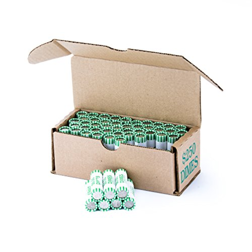 Dime Storage Box Green Holds 50 Wrapped Coin Rolls, 10 Boxes
