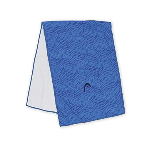 スーパークール タオル HEAD 約31×90cm UVカット率98% UPF50+ 抗菌防臭 接触冷感 ヘッド 夏 冷たい 暑さ対策 熱中症対策 スポーツ アウトドア 瞬冷 部活 cool towel 猛暑 男性 女性 外仕事 (ブルー)