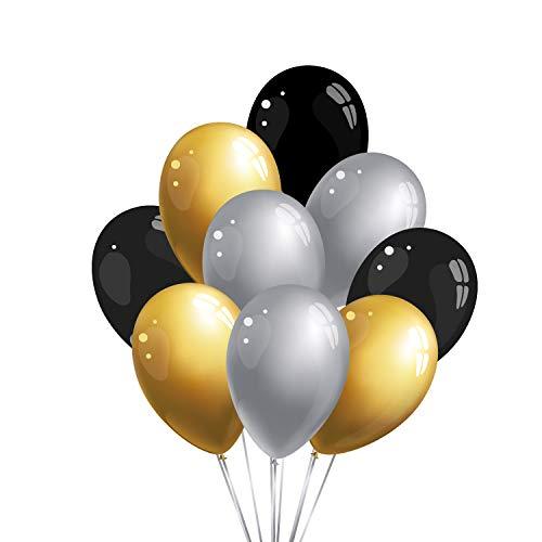 30 Premium Luftballons in Schwarz/Gold/Silber - Made in EU - 100% Naturlatex somit 100% giftfrei und 100% biologisch abbaubar - Hochzeit Silvester Karneval - für Helium geeignet - twist4®