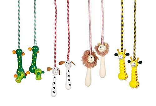 Toys pure Springseil Tiere mit Holzgriffen als Tiermotive (verschiedene Ausführungen)