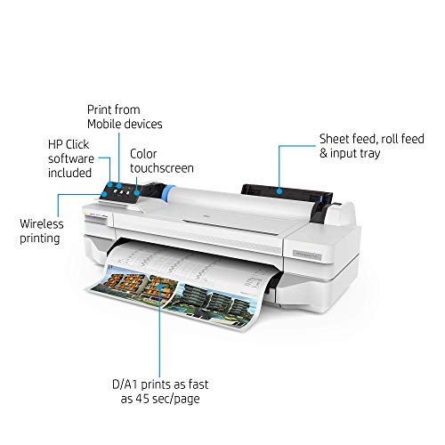 HP DesignJet T125 Large Format Compact Wireless Plotter Printer - 24', with Mobile Printing (5ZY57A)