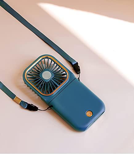 Ventilador de mano USB plegable ventilador portátil colgante cuello ventilador de escritorio 3 velocidades ajustable Mini ventilador de carga Banco de energía