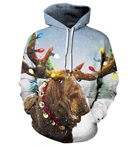 AIBRVC Kapuzenpullover,Männer Weihnachtsserie Laterne Kuh 3D Gedruckt Pullover Strickjacke Kapuze Mode Lässig Individuell Übergröße Pullover Multicolor S