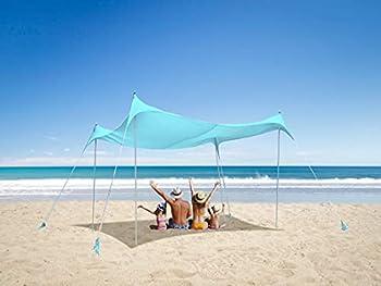 Concha Cielo Family Beach 10X10FT Pop Up Sun Shade Tent with 4-Poles