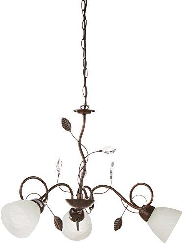 Trio Leuchten Kronleuchter 110700328 Traditio, Metall rostfarben antik, Glas in weiß, exkl. 3 x E14