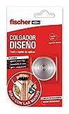 fischer - gancho para colgar Sclm Colgador Diseño blíster 1 ud, resiste cargas hasta 3 kg gracias a la almohadilla adhesiva, colgador de acero inoxidable, rápida adhesión y fácil aplicación