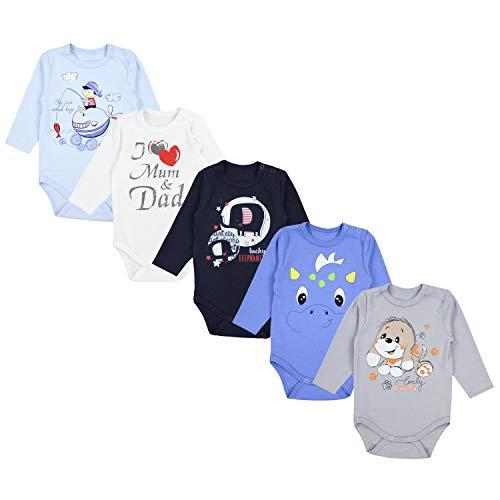 TupTam Baby Unisex Langarm Body mit Aufdruck Spruch 5er Pack, Farbe: Junge 3, Größe: 104