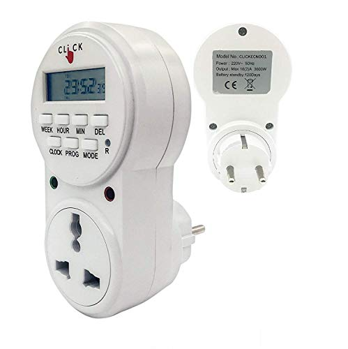 Electrobot Plastic 24x7 Automatic Smart Digital Programmable Timer Switch with Smart Socket Plug with 20 ON/Off Setting (White)