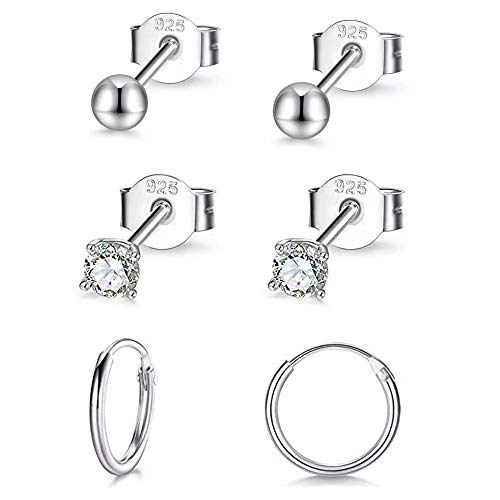 PRETTERY 3 Pairs Sterling Silver Earrings Set, Ball Stud Earrings Cubic Zirconia Earrings Hoop Earrings, White Gold Plated Hypoallergenic Sleeper Cartilage Studs Hoops Earrings Set