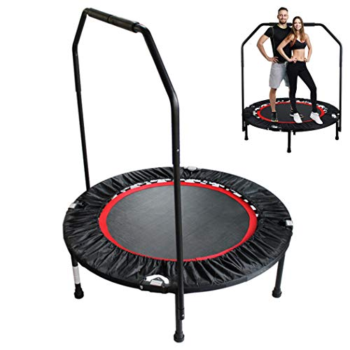 KOQIO Foldable Indoor Fitness Trampoline, 40' Exercise Fitness Bouncer Jumping Trampoline with Safety Enclosure Net And Armrest for Indoor Garden Workout