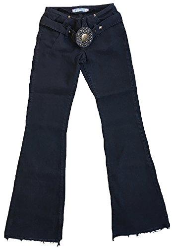 Fornarina Damen Jeans Schwarz Cave Denim Rock Star Bootcut Hose Schlagjeans mit Gürtel W28 L34