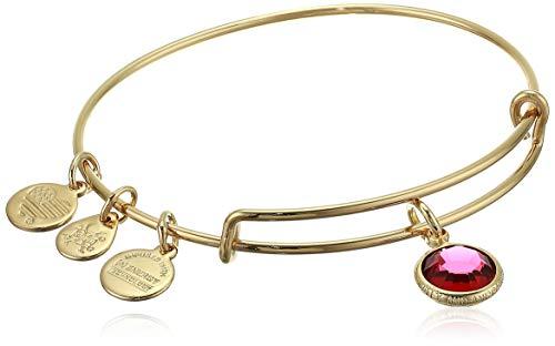 Alex and Ani Women's Swarovski Color Code Bangle January Scarlet Bracelet, Shiny Gold, Expandable
