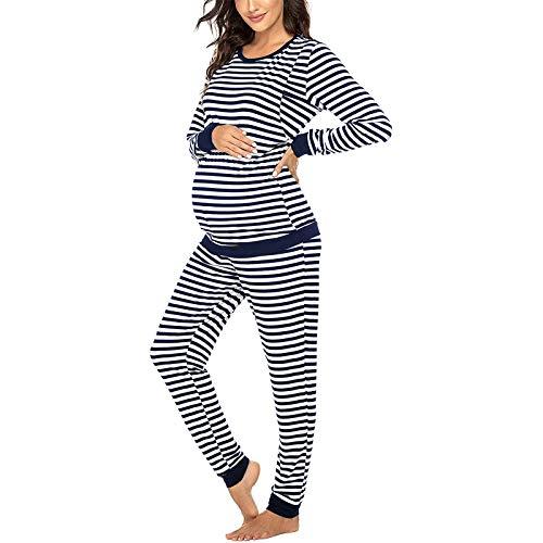 Pijama Premama Ropa de Dormir Embarazadas Camiseta y Pantalones a Rayas Conjunto para Lactancia...