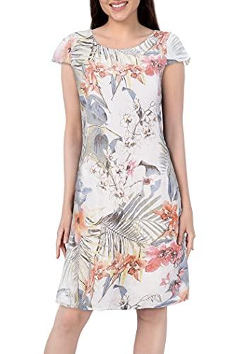 PEKIVESSA Leinenkleid Damen Sommer Knielang Blumen Kurzarm Weiß 44 (Herstellergröße XL)