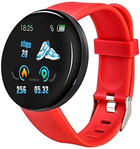 Reloj inteligente para hombre y mujer, frecuencia cardíaca, presión arterial, reloj inteligente redondo, rastreador de fitness, resistente al agua, pulsera deportiva (color: verde) D18 rojo