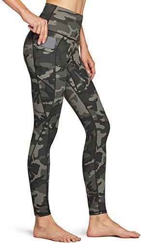 TSLA Pantalones de yoga de cintura alta para mujer, con bolsillos, control de abdomen, leggings de yoga, mallas elásticas de 4 vías Fap58 1pack - Camo Olive S