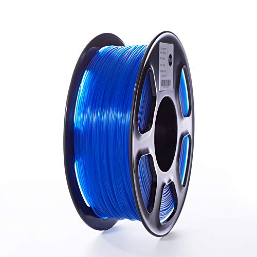 TOPZEAL 3D Printer Filament, Transparent Series Color PLA Filament 1.75mm, Dimensional Accuracy +/- 0.05mm, 2.2LBS(1KG) Spool for 3D Printer and 3D Pen (Transparent-Blue)