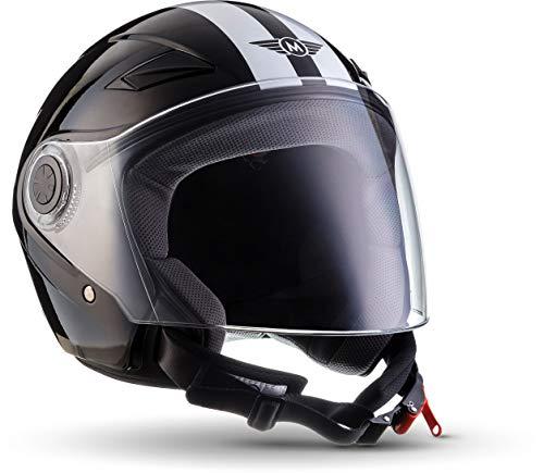 "MOTOHelmets® U52 ""Racing Black"" · Jet-Helm · Motorrad-Helm Roller-Helm Scooter-Helm Bobber Mofa-Helm Chopper Retro Cruiser Vintage Pilot Biker Helmet · ECE Visier Schnellverschluss Tasche S (55-56cm)"