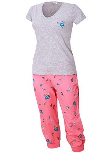 Damen Schlafanzug kurz mit Caprihose Größe S M L XL (grau pink, 44-46)
