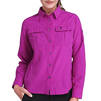 CAMEL CROWN Quick Dry Shirt Women Long Sleeve Roll-Up Shirts UV Protection for Work Outdoor Hiking Fishing Rose Red