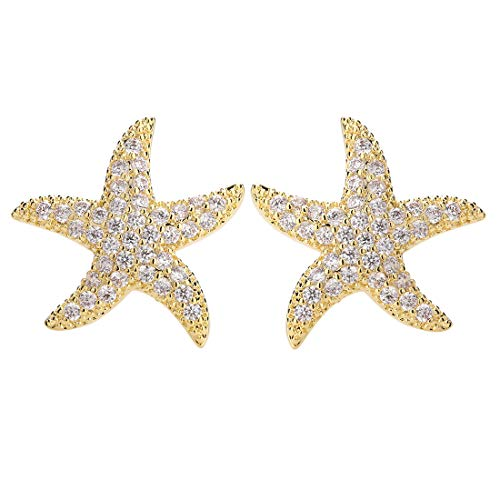 Starfish Stud Earrings for Women - CZ Pave Starfish Stud Earrings for Girls - Charm Starfish Earrings Plated in 14k Gold/White Gold