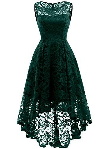 MuaDress 6006 Elegante Abendkleider Cocktailkleider Damenkleider Brautjungfernkleider aus Spitzen Knielange Rockabilly Ballkleid Rund Ausschnitt Grün XS