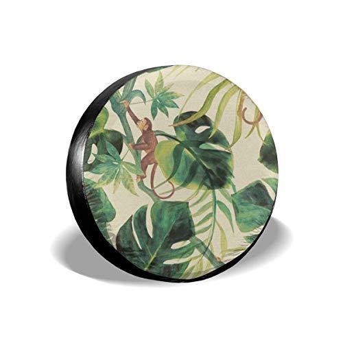 LYMT Vervangende bandenafdekking Universele bandenbescherming - Monkey Tropical Plants Painting Fit voor aanhangers, campers, SUV's en vele voertuigen 14-17 inch