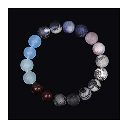 Universo Ocho Planetas Pulsera Hombres Piedra Natural Sistema Solar Beads Pulsera para Mujer Joyería Yoga Chakra Lover Blue Bracelets (Length : 19cm, Metal Color : 7 Uranus)
