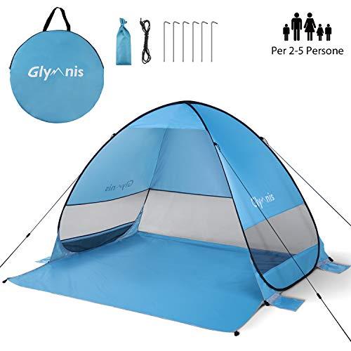 Glymnis Tenda da Spiaggia Pop-up Portatile Tenda Istantanea per 3-5 Persone, Protezione Solare UPF 50+, Include Borsa Portabile