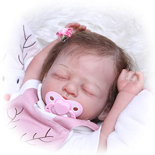 iCradle 100% Hand-Made 20 Inch 50cm Sleeping Reborn Baby Girl Doll Painted by Genesis Heat Paint Soft Silicone Realistic Baby Doll Weighted Body Around 5lbs Toddler Doll Toy for Age 3+ Named Chris
