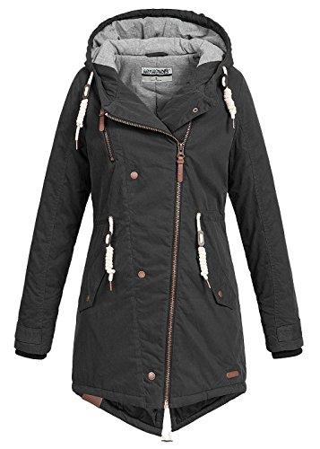 Hailys Damen Winter Parka Jacke Kapuze Zipper seitlich Fishtail Rücken schwarz, Gr:S