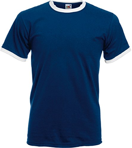 Fruit of the Loom Ringer T-Shirt, vers. Farben XL,Navy / Weiß