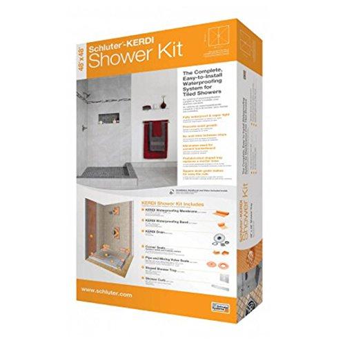 Schluter Kerdi 32-Inch X 60-Inch Off-Center Shower Kit with Stainless Steel Drain