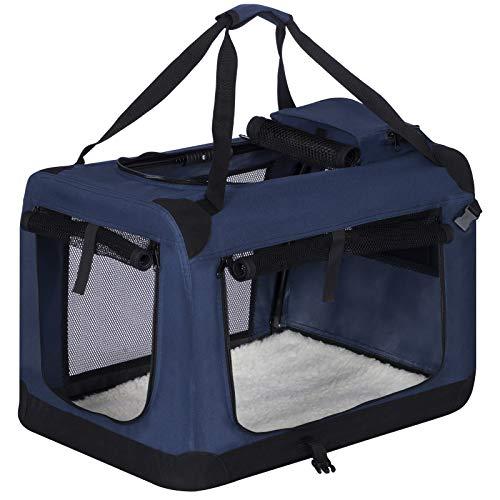 EUGAD 0315HT Hundebox faltbar Hundetransportbox Auto Transportbox Reisebox Katzenbox Klassisch Blau 70 x 52 x 52 cm